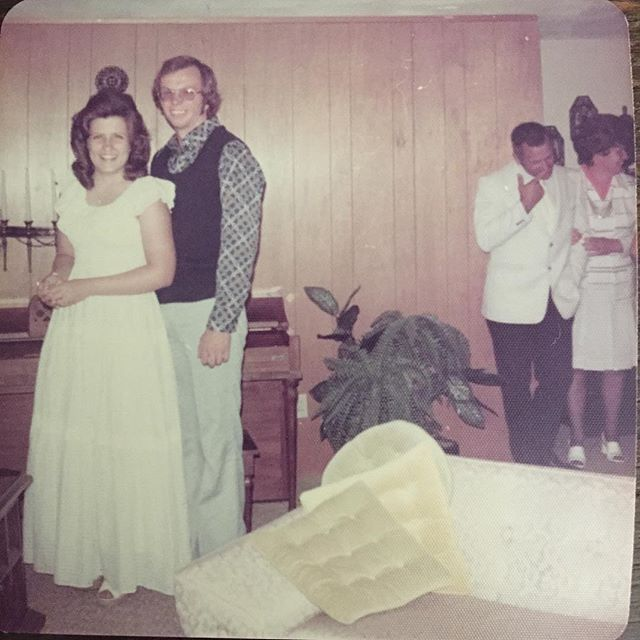 I got an album from my grandma yesterday, & I found this bit of history. I'm going to take an educated guess that this was after someone's wedding (is Grandpa in a white tux?) & taking it a guess further, I'm thinking after their wedding before they left for their honeymoon. Or perhaps a wedding shower? Nice lookin' couple, eh? #throwbackthursday #myparentsrock #thathairtho #beforehewentbald