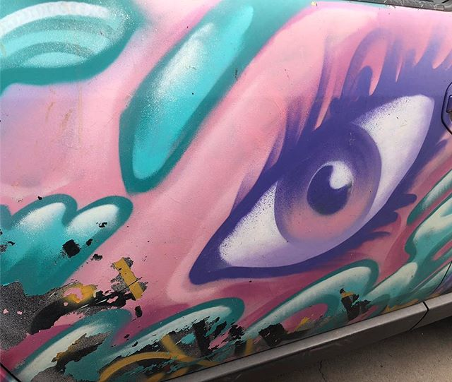 Street art isn't always confined to walls… this was on the door of a car, & I couldn't NOT take a photo!  #streetart #artonwheels #eyes #fortcollins
