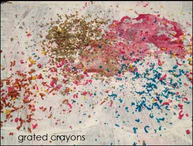 grated crayons