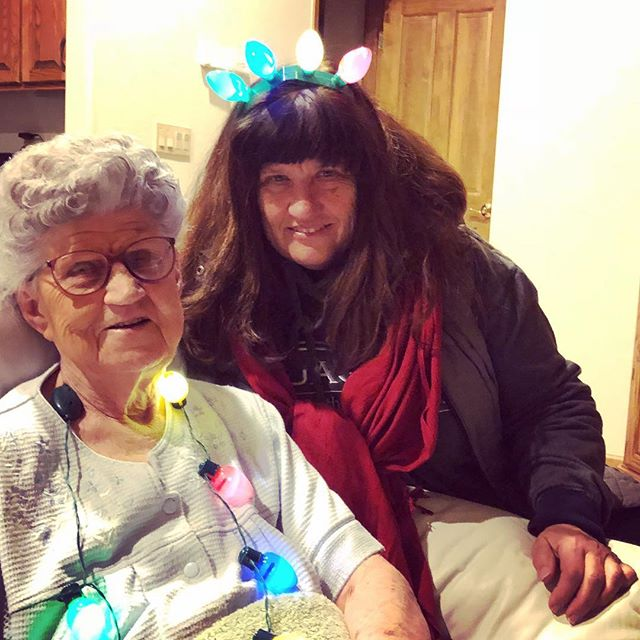 We got grandma to don the light-up necklace too!